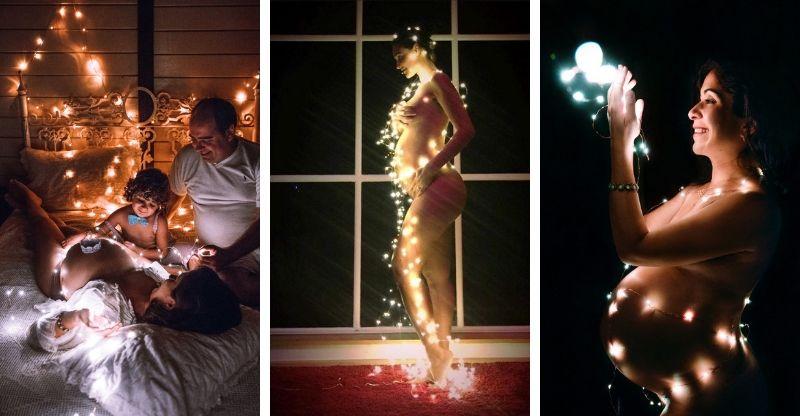 ensaio gravidez com fios luzes