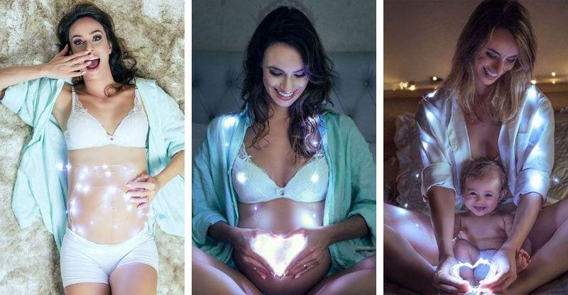 ensaio gravidez com luzes